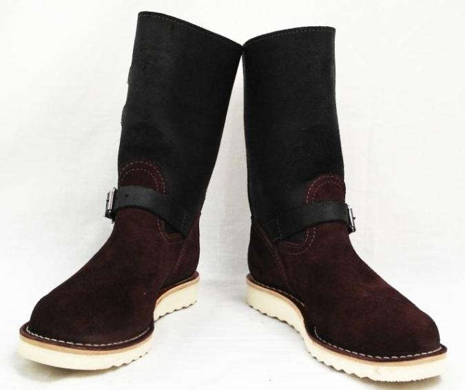 Wescoウエスコ 正規 Boss ボス Burgundy & Black, All RoughOut,10height,#1010 sole,Boss Toe,Black Roller Buckle,3Top Strap