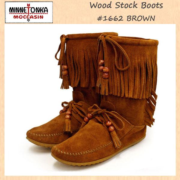 正規取扱店 MINNETONKA(ミネトンカ)Wood Stock Fringe(ウッドストックフリンジ)#1662 BROWN SUEDE レディース MT179