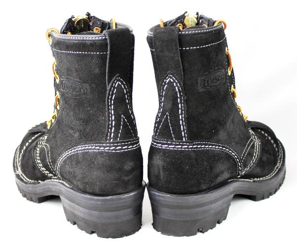 ����Wesco�������� Jobmaster Black Rough Out,8height,#100sole,Toe Cap,Doule Mid Sole,White Stitching, Lace in Zipper JM35